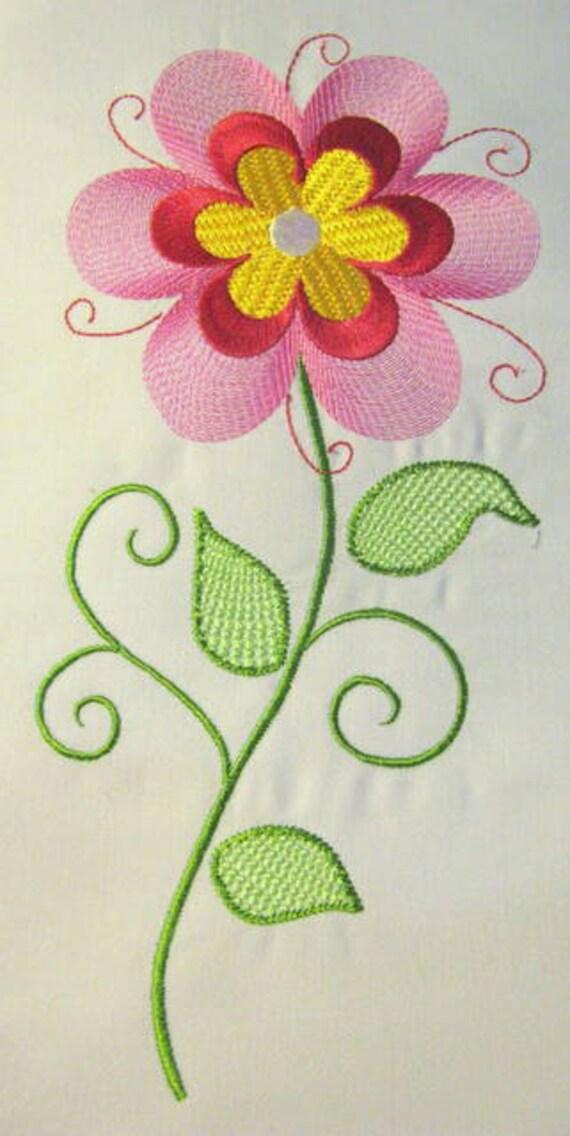 Vintage Flower 10 Filled Machine Embroidery Design Vintage