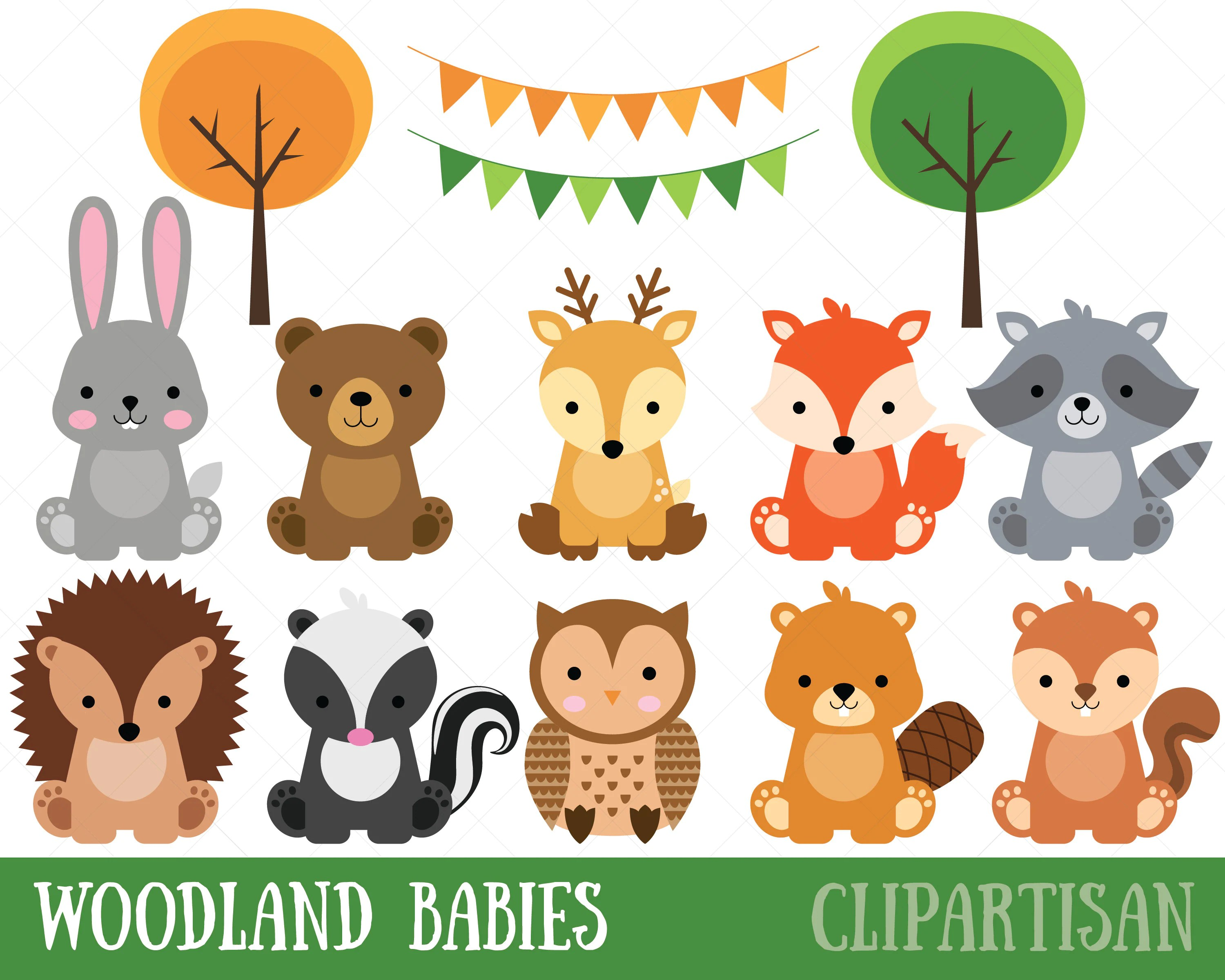 Woodland Baby Animals Clipart | Forest Animal Clipart ...