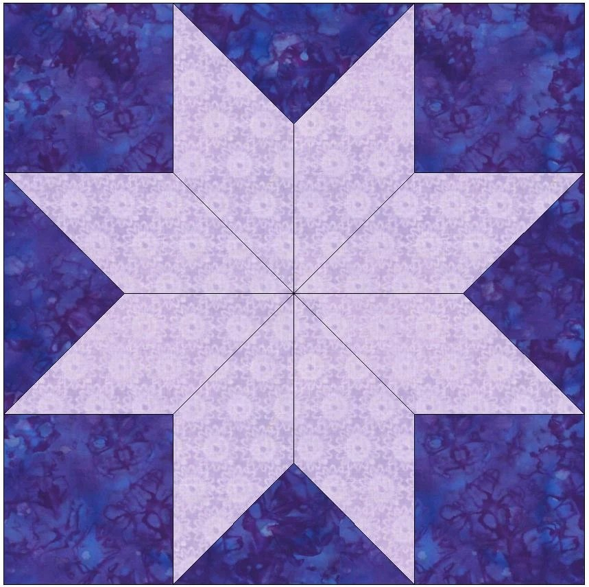 8 Pointed Star Paper Piece Foundation Quilting Block Pattern