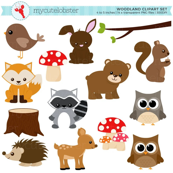 Woodland Clipart Set clip art set of woodland animals