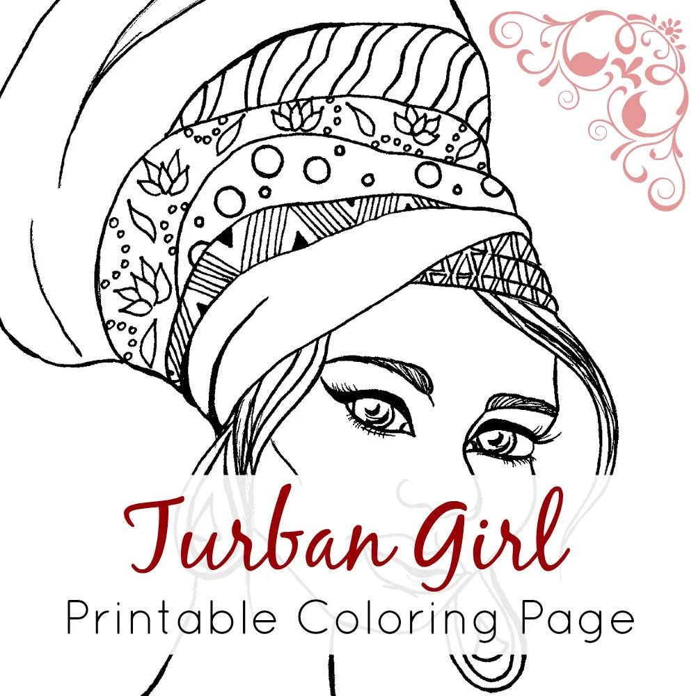 African Girl Coloring Page African Girl With Turban