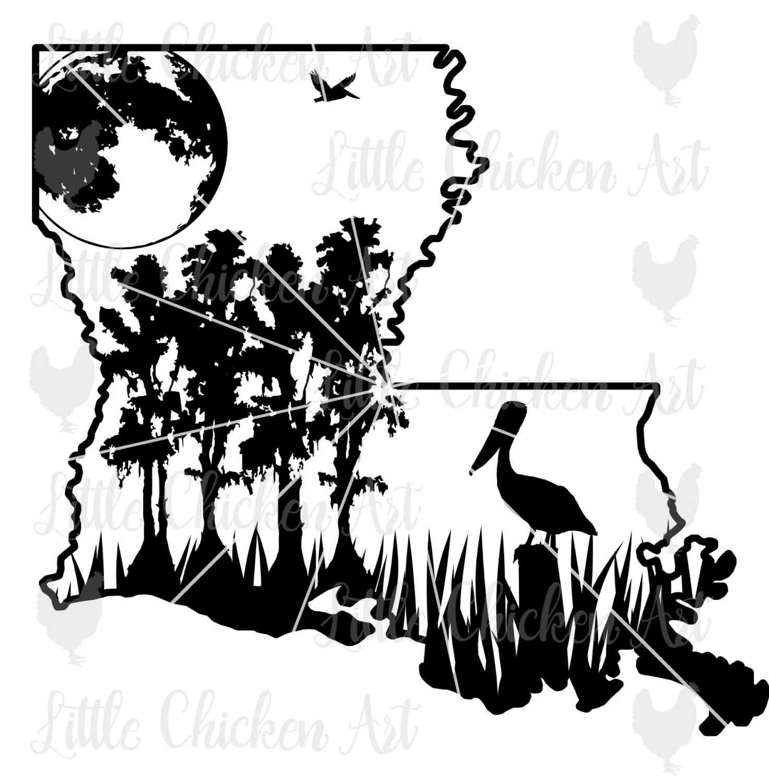 Louisiana Swamp Scene cut file / clip art Silhouette