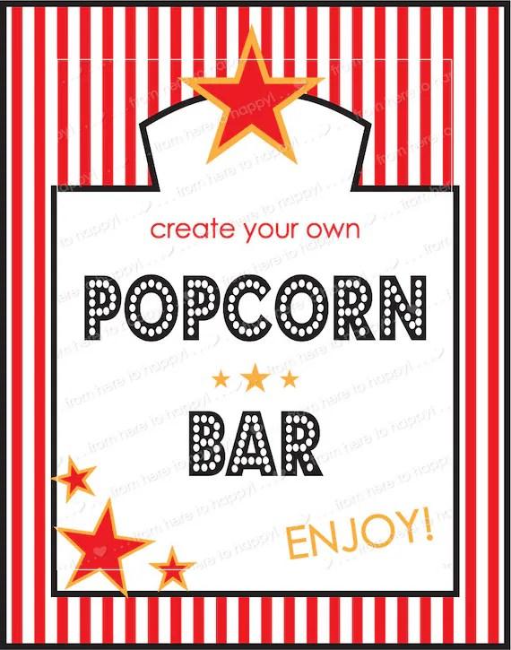 Basic Popcorn Bar Party Printables