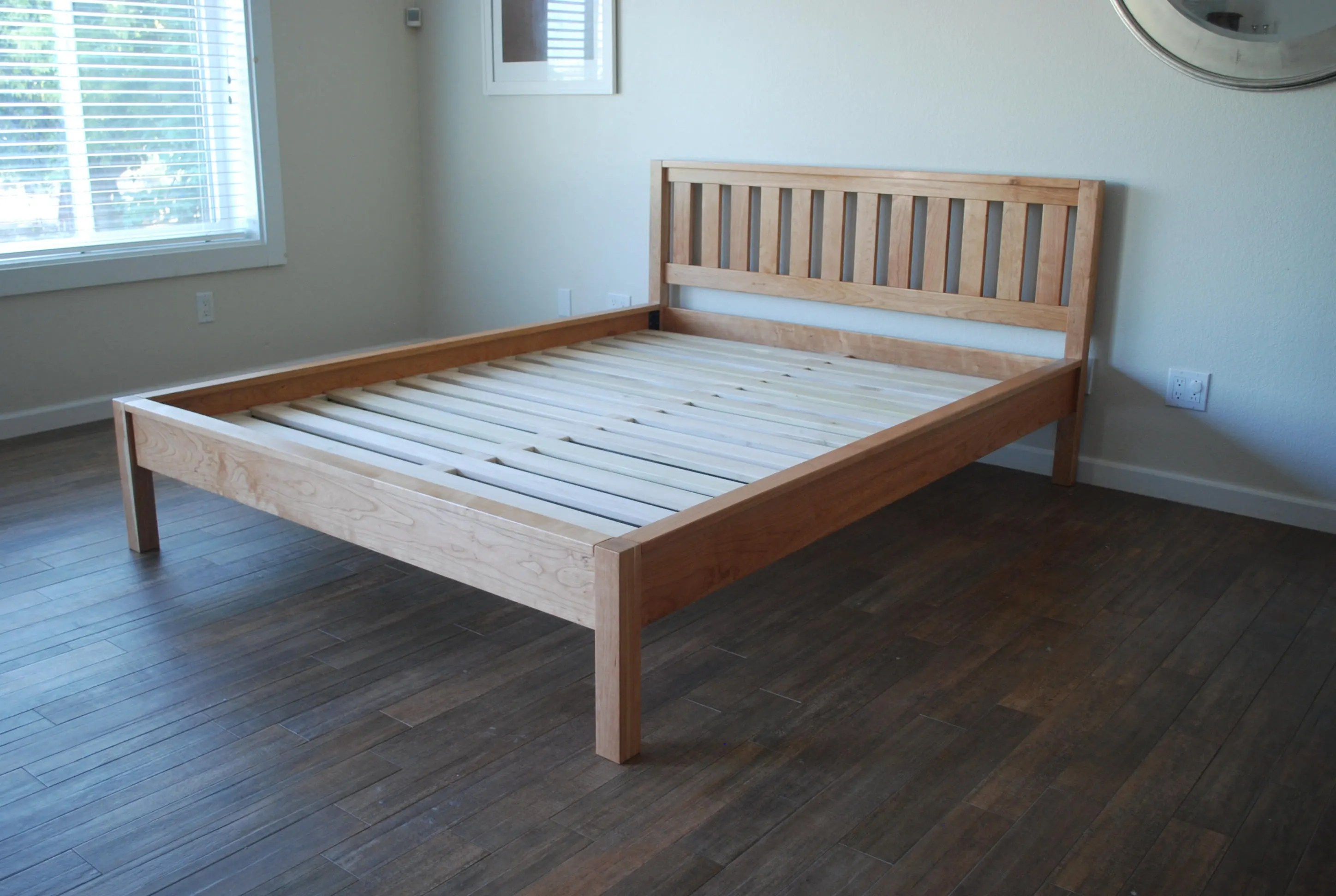 Simple Bed Frame With Slatted Headboard Platform Bed With