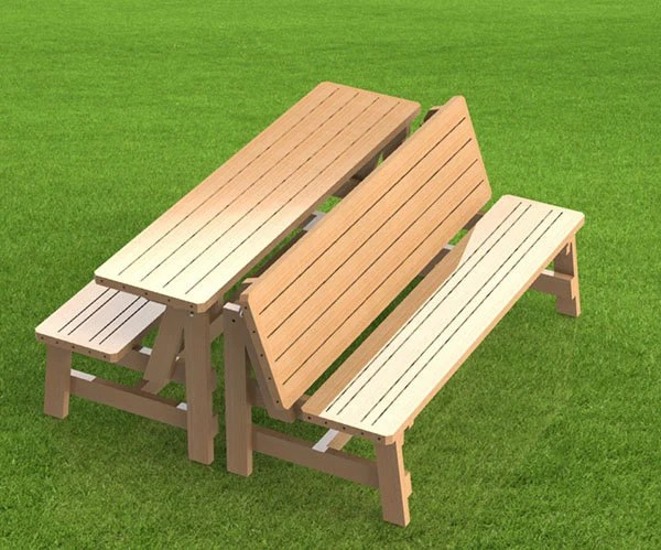 Convertible 6ft Bench To Picnic Table Combination Building