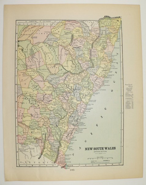 1897 New South Wales Map Vintage Map of Australia Victoria