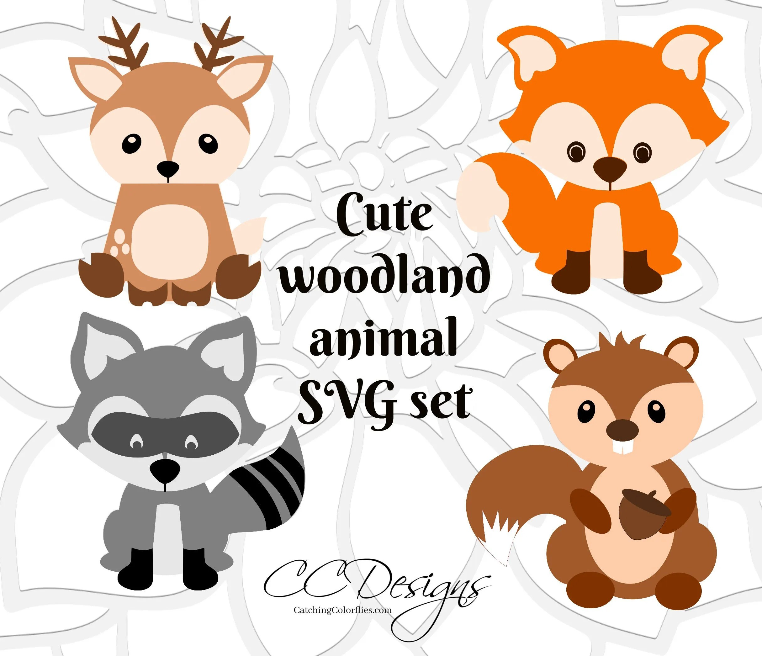Cute Baby Woodland Forest Animals SVG Cut Files Deer Cut