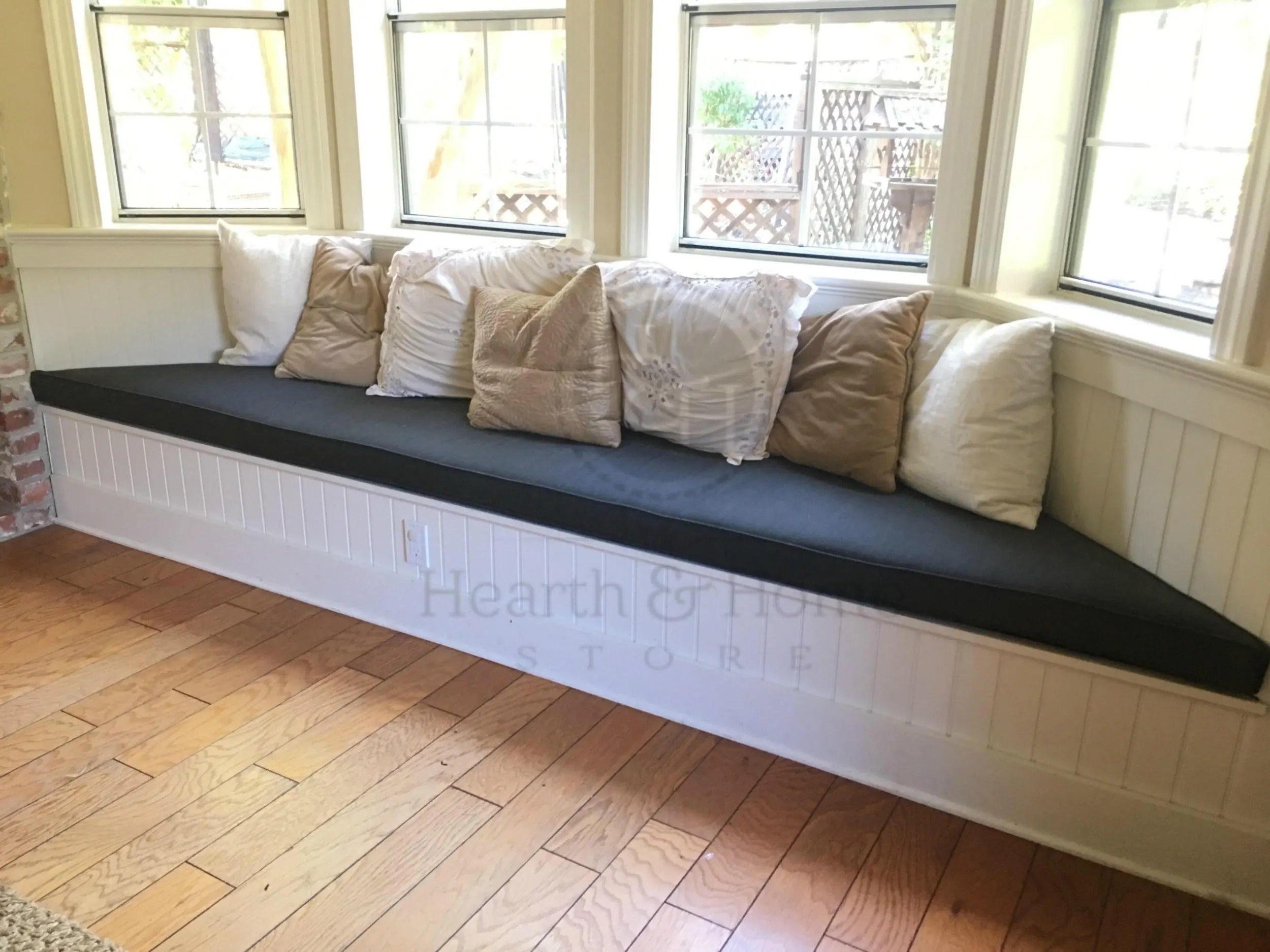 Custom Bay Window Seat Cushion With Cording Trapezoid