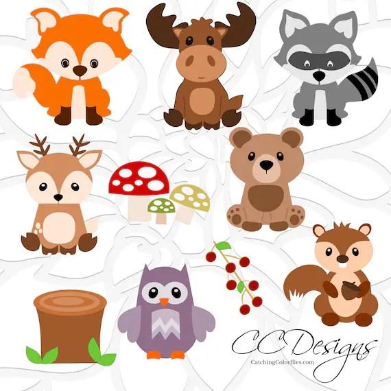 Woodland Animal SVG Set Cute Baby Forest Animals Clip Art