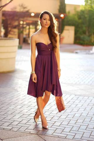What Color Shoes to Wear with Purple Dress for Bridesmaids     Gold Color