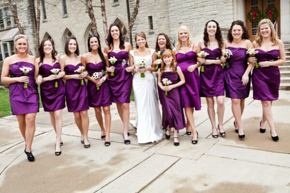 What Color Shoes to Wear with Purple Dress for Bridesmaids     Black Shoes