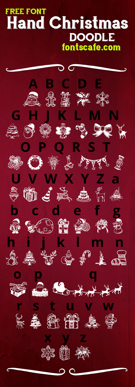Hand Christmas Doodle Font By Fontscafe Fontspace