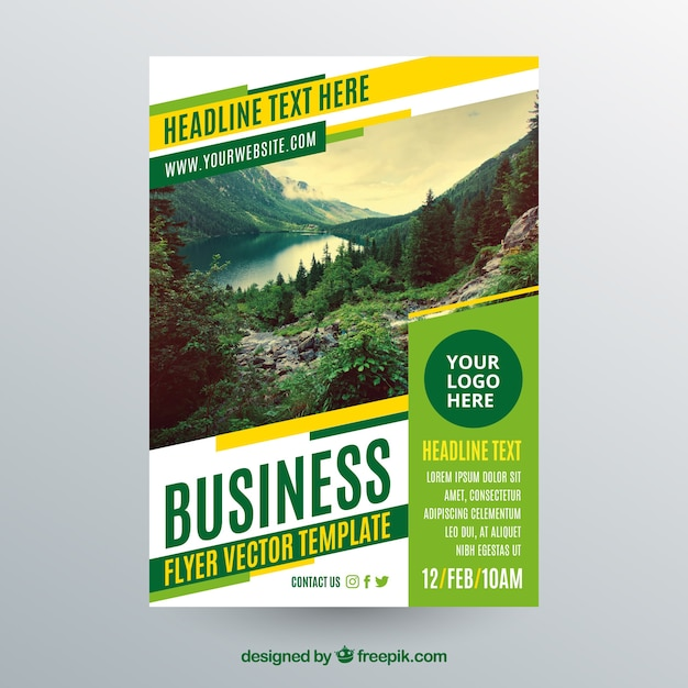 Flyer Vectors  Photos and PSD files   Free Download Business flyer template with photo of landscape