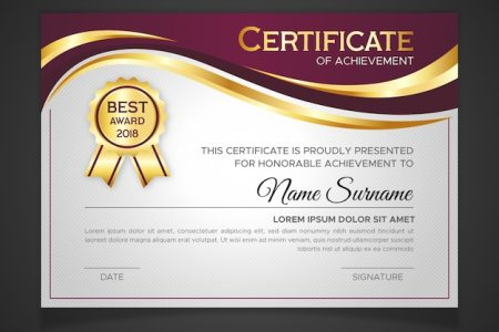 Award Certificate Vectors  Photos and PSD files   Free Download Certificate template in golden color
