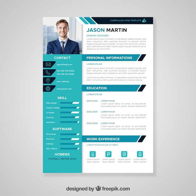 Cv Template Vectors  Photos and PSD files   Free Download Flat professional curriculum template