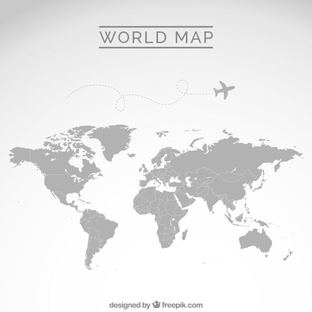 Blue world map Vector   Free Download Gray world map