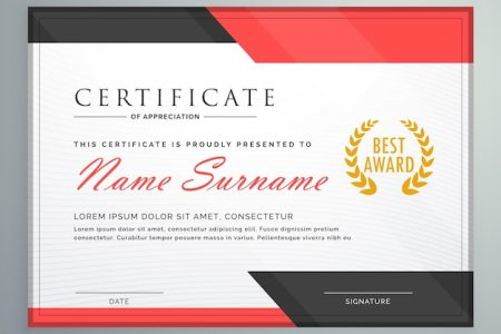 Certificate Design Vectors  Photos and PSD files   Free Download Modern certificate design with geometric red and black shapes