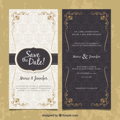 Wedding Invitation Vectors  Photos and PSD files   Free Download Two sided wedding invitation in vintage style