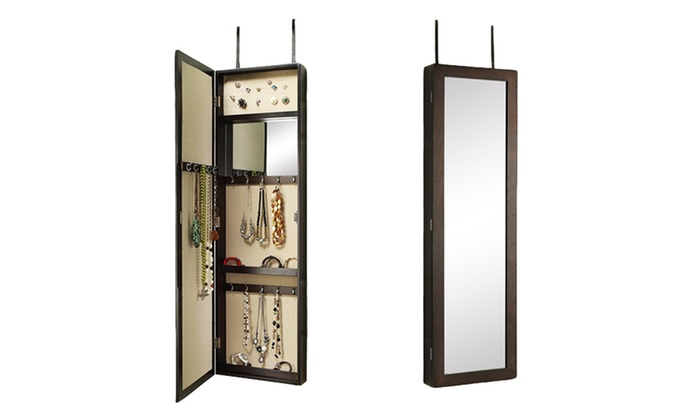 Jcpenney Antique Finish Walnut Front Mirror Jewelry Armoire