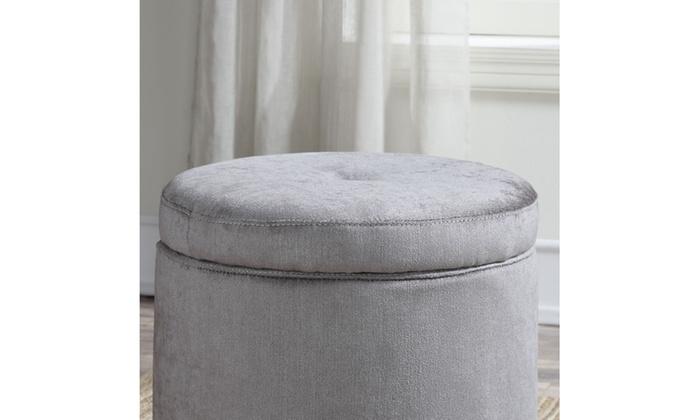 Small Grey Storage Ottoman