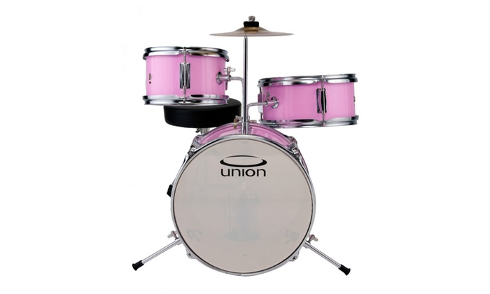 Union UT3 3 Piece Toy Drum Set with Cymbal and Throne   Pink   Groupon Union UT3 3 Piece Toy Drum Set with Cymbal and Throne   Pink