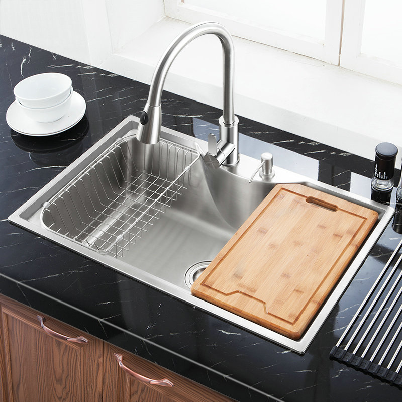 Modern Kitchen Sink Top Mount 304 Stainless Steel Single