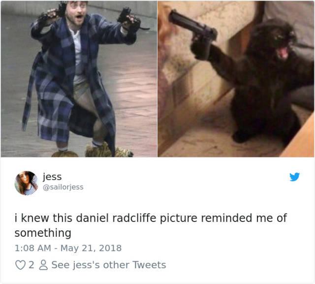 Daniel Guns Meme Radcliffe Holding