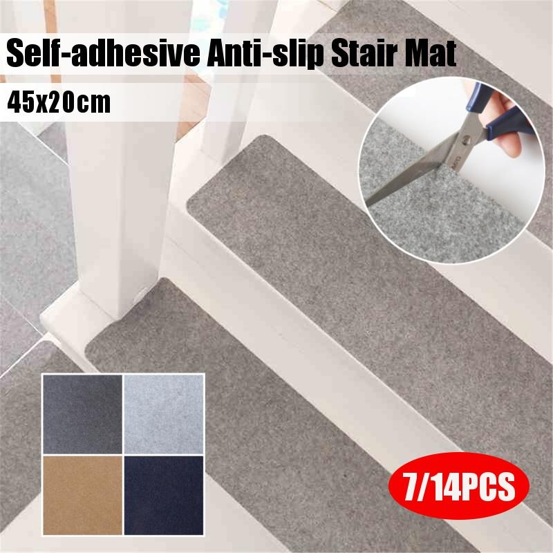 Self Adhesive Non Slip Stair Carpet Mat Reusable Washable Stairway | Sticky Carpet For Stairs | Self Adhesive | Mat | Sticky Bottom | Flooring | Anti Slip