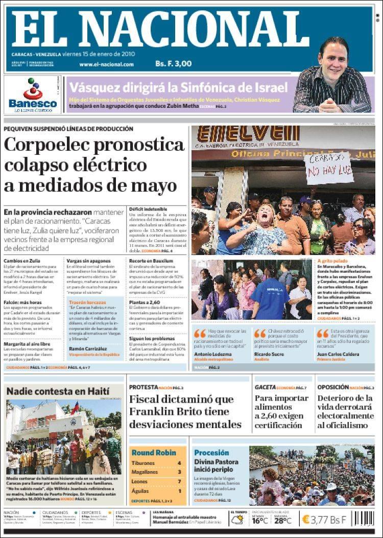 Periodico El Nacional Venezuela