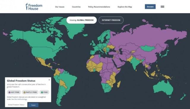 2020 世界自由度报告,台湾 93 分、中国仅 10 分