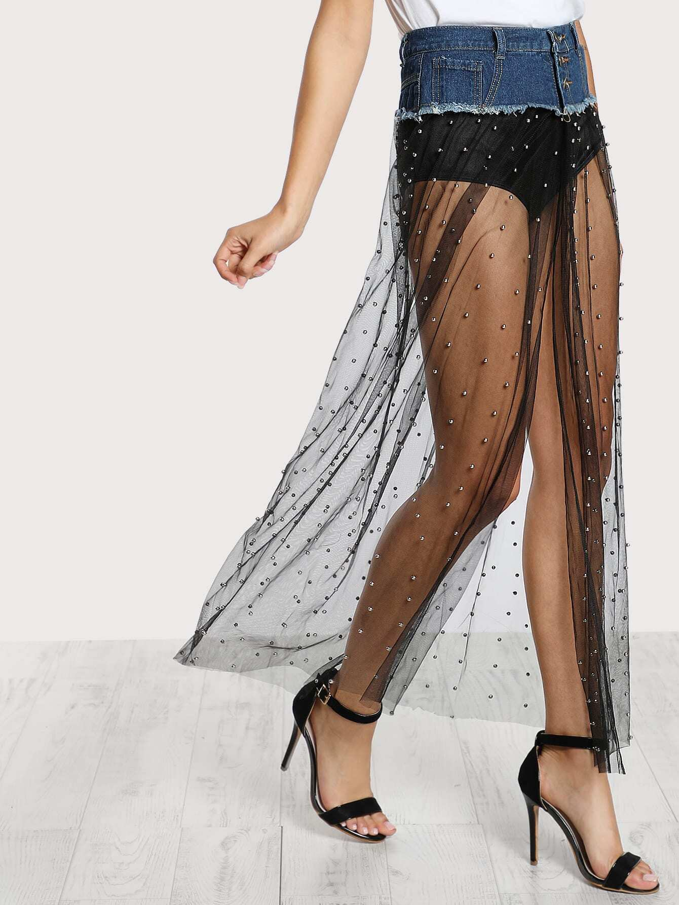 Mesh Cut Out Skirt Bisou