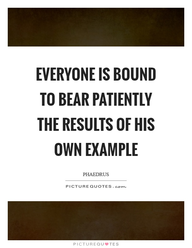 Everyone is bound to bear patiently the results of his own ...