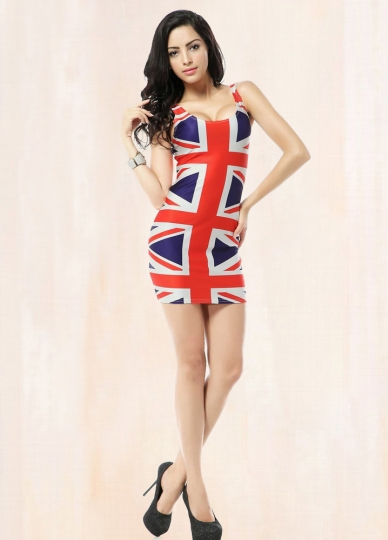 Red Union Jack Flag Print Dress Flag Print Dresses