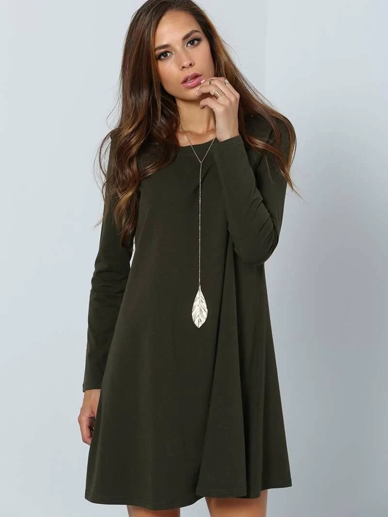 Dark Green Long Sleeve Designer Casual DressFor Women romwe