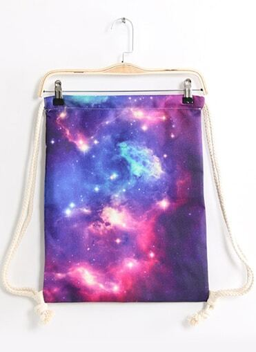 Purple Galaxy Print Backpack -SheIn(Sheinside)