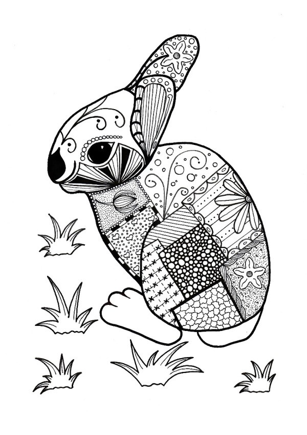 Colorful Rabbit Adult Coloring Page Thriftyfun