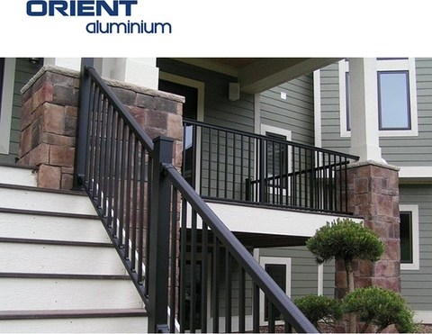Aluminum Stair Handrail Outdoor Metal Handrail For Steps | Metal Handrails For Outdoor Steps | Hand | Front Porch Stair Railing | Outside | Patio | Gas Pipe