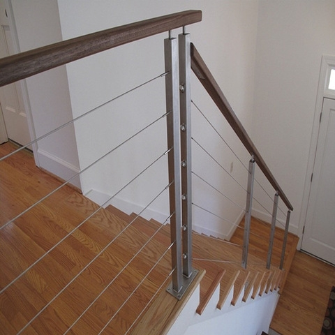 Modern Stainless Steel Stair Handrail Cable Wire Rod Railing For | Modern Cable Stair Railing | Stainless Steel Stair | Railing Systems | Glass Railing | Entry Foyer | Staircase Remodel