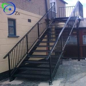 Outdoor Metal Fire Escape Staircase Exterior Prefab Mild Steel | Outdoor Metal Stair Railing | Ornamental | Banister | Custom | Urban Metal Deck | Garden