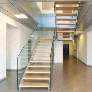 New Design Modern Glass Stairs Glass Railing Staircase Build   Modern Glass Staircase Design   Half Wall Glass   Marble Floor Glass   Modern Style   Stainless Steel   Stair Case