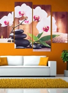 HD Printed 4 Panel Unframed Butterfly Orchid Pattern Canvas Painting     HD Printed 4 Panel Unframed Butterfly Orchid Pattern Canvas Painting Wall  Art Modular Pictures Decor for Home Living Room Bedroom