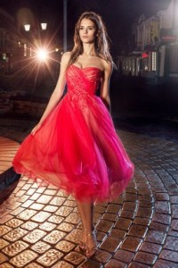 at Centre City Bramalea Prom Gowns  Bramalea Stores Formal Dresses     A Line Knee Length Strapless Tulle Backless Dress With Criss Cross And  Flower
