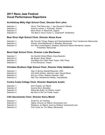 Vocal Jazz Suggested List