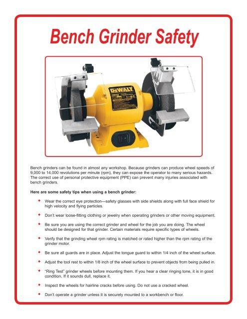Safety Operating Procedures Bench Grinder