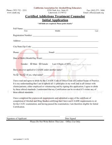 Certified Addiction Recovery Coach Application Form - ASAP