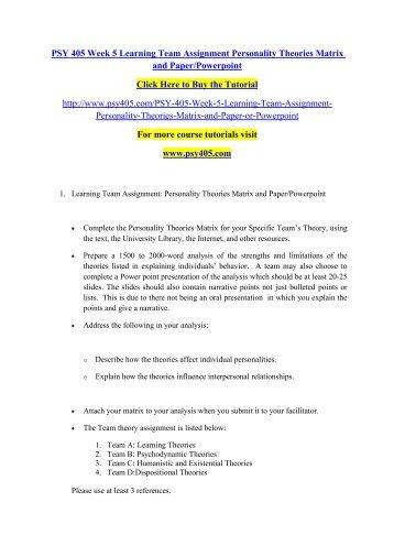Personality Matrix Psychodynamic Theories
