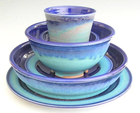 And Dinnerware Cobalt Yellow Blue