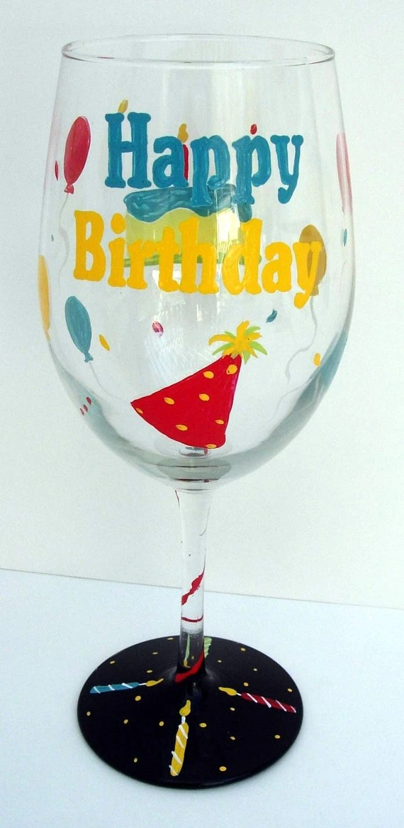 Happy Birthday Wine Glass Hand Painted Glass And Art