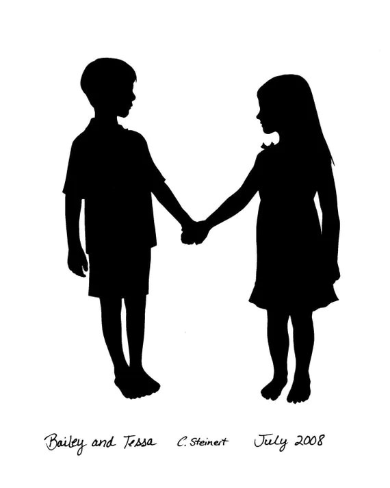 Silhouette Boy And Girl Holding Hands