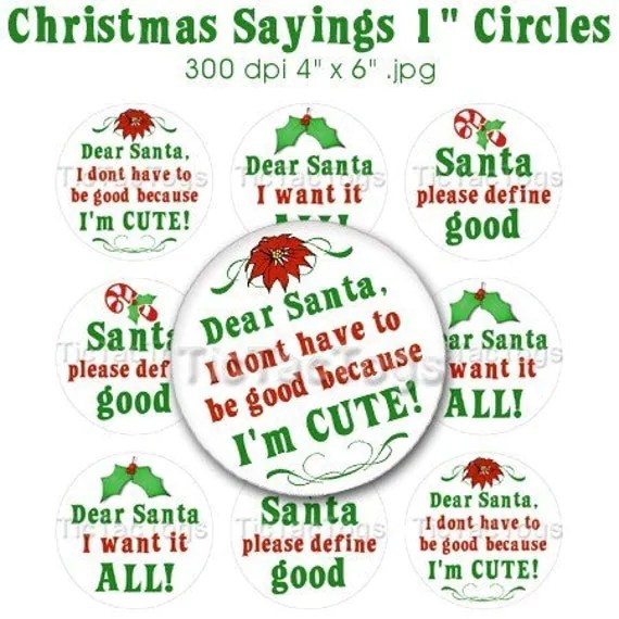 Christmas Santa Sayings Bottle Cap Images Digital Set 1 Inch